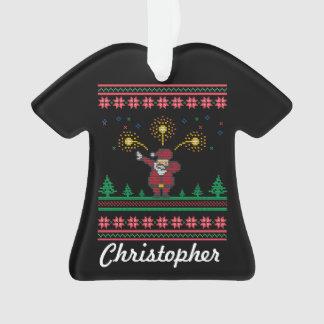 Ornamento Camisola feia de toque ligeiro do Natal do papai