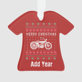 Ornamento Camisola feia do Natal da motocicleta do vintage