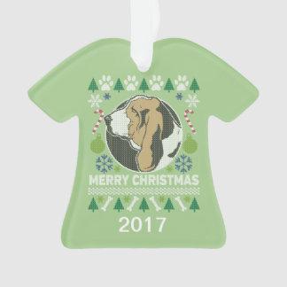 Ornamento Camisola feia do Natal de Basset Hound