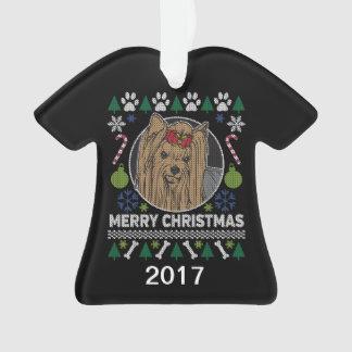 Ornamento Camisola feia do Natal de Yorkie