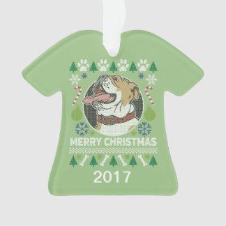 Ornamento Camisola feia do Natal do buldogue