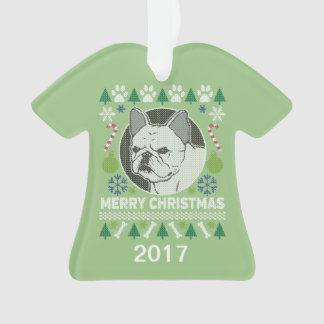 Ornamento Camisola feia do Natal do buldogue francês