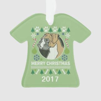 Ornamento Camisola feia do Natal do cão do pugilista