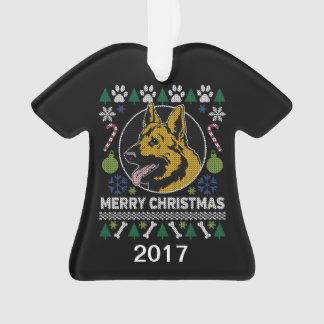 Ornamento Camisola feia do Natal do german shepherd