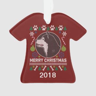 Ornamento Camisola feia do Natal do Malamute do Alasca