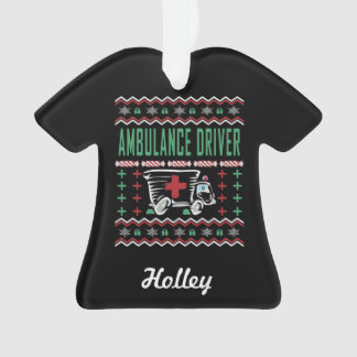 Ornamento Camisola feia do Natal do motorista da ambulância