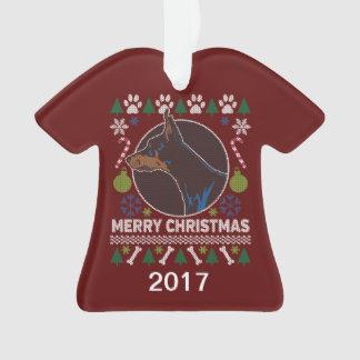Ornamento Camisola feia do Natal do Pinscher do Doberman