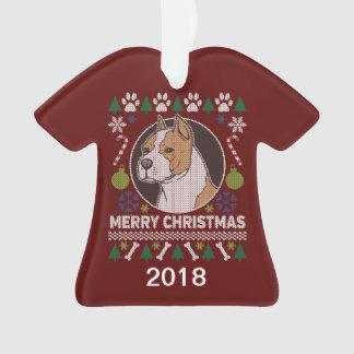 Ornamento Camisola feia do Natal do pitbull de AmStaff