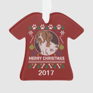 Ornamento Camisola feia do Natal do Spaniel de Brittany