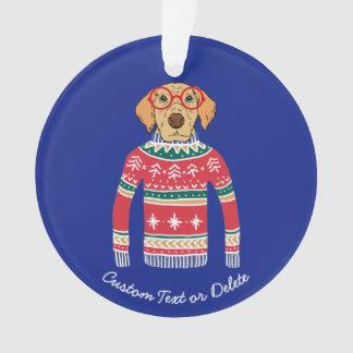 Ornamento Camisola feia engraçada do Natal, cão que veste