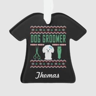 Ornamento Camisola feia personalizada do Natal do Groomer do