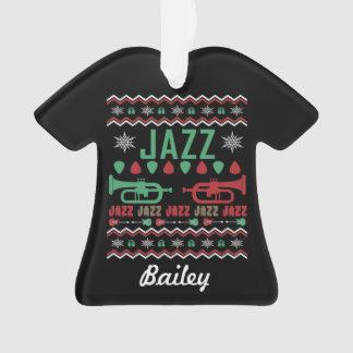 Ornamento Camisola feia personalizada do Natal do jazz