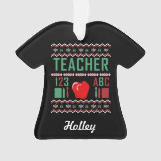 Ornamento Camisola feia personalizada do Natal do professor