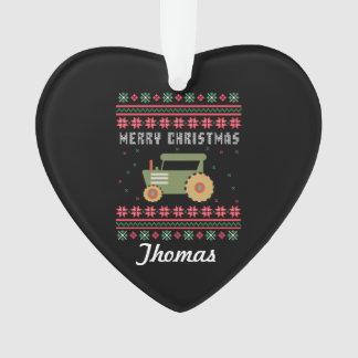 Ornamento Camisola feia personalizada do Natal do trator
