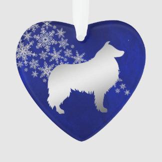Ornamento Cão de prata azul do Collie do floco de neve