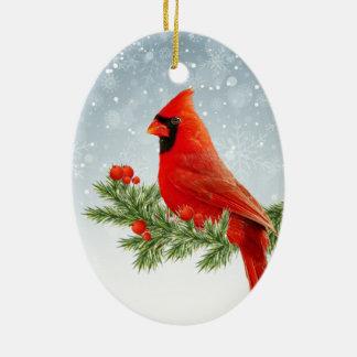 Ornamento cardinal vermelho do Feliz Natal do