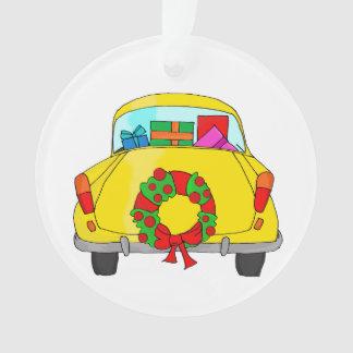 Ornamento Carro amarelo com grinalda do Natal