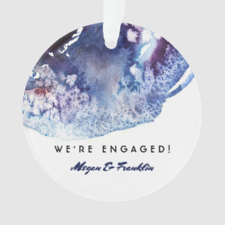 Ornamento Casamento/noivado modernos da aguarela do azul de