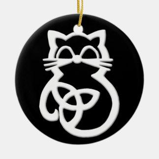 Ornamento celta do gato do nó branco da trindade