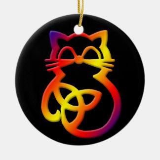 Ornamento celta do gato do nó da trindade do