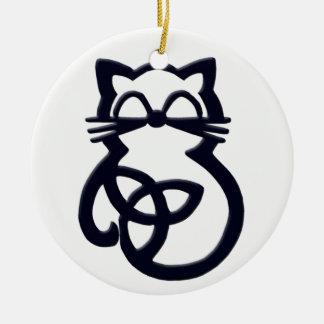 Ornamento celta do gato do nó preto da trindade