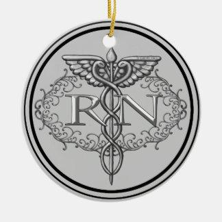 Ornamento cerâmico da enfermeira de prata oval do