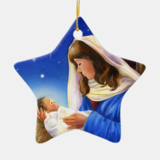 Ornamento cerâmico da estrela de Mary e de Jesus