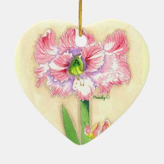 Ornamento cerâmico do coração floral