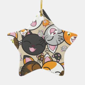 Ornamento cerâmico do gatinho de Kawaii (formas