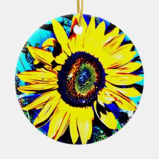 Ornamento cerâmico do girassol ensolarado