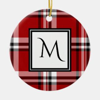 Ornamento cerâmico do monograma clássico vermelho