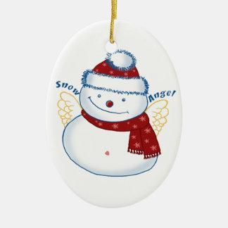 Ornamento cerâmico oval do anjo do boneco de neve