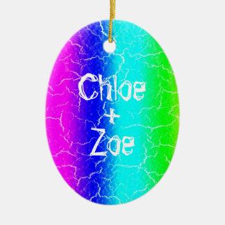 Ornamento cerâmico personalizado do arco-íris oval