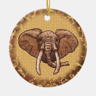 Ornamento cerâmico redondo do elefante tribal do