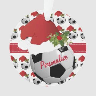 Ornamento Chapéu do papai noel da bola de futebol do esporte