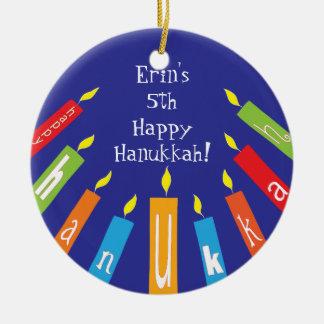 Ornamento colorido feliz das velas de Hanukkah
