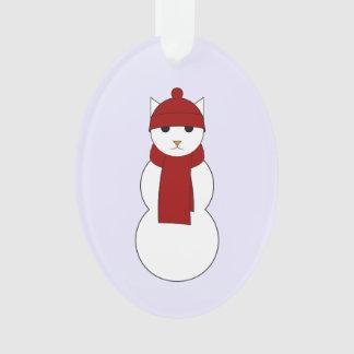 Ornamento com o Snowcat no lenço e no chapéu