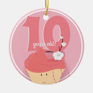 Ornamento cor-de-rosa do aniversário   do cupcake