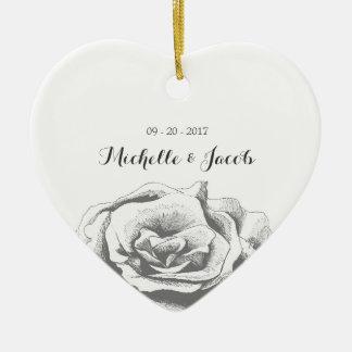Ornamento cor-de-rosa do casamento do vintage