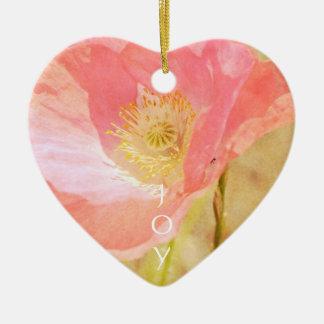 Ornamento cor-de-rosa do coração da papoila de