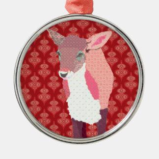 Ornamento cor-de-rosa do vermelho da jovem corça