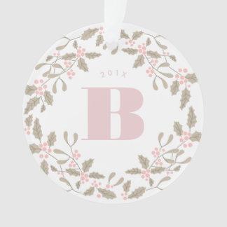Ornamento Cora a foto cor-de-rosa do casamento da grinalda