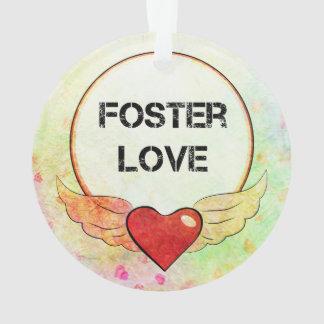 Ornamento Coração adoptivo da aguarela do amor