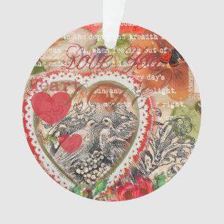 Ornamento Coração do vintage dos pássaros do amor