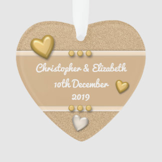Ornamento Coração dourado personalizado do aniversário dos