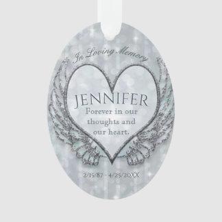 Ornamento Coração feito sob encomenda e asas do anjo