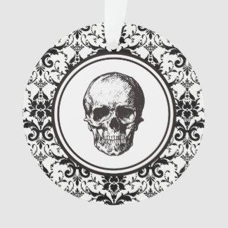 Ornamento Crânio preto da cor damasco do DIA DAS BRUXAS