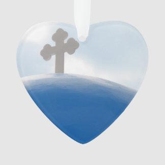 Ornamento Cruz de Santorini na tarde Sun