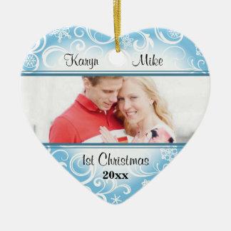 Ornamento customizável da foto do coração do floco