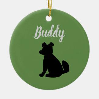 Ornamento customizável da silhueta do cão (verde &